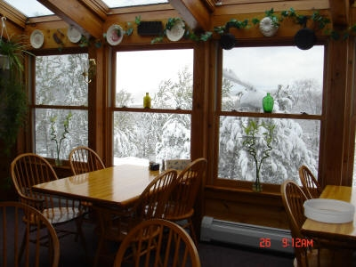 Winter Scene from Dining Room at Cascades Lodge, Killington Vermont
