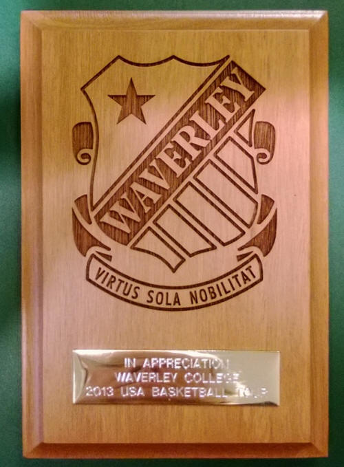 Waverley College Appreciation Plaque